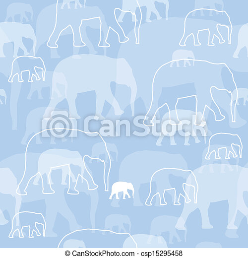 Vector Pattern with Elephants - csp15295458
