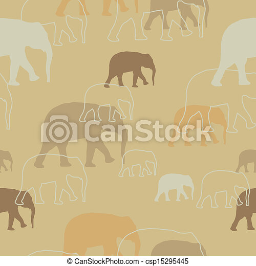 Vector Pattern with Elephants - csp15295445