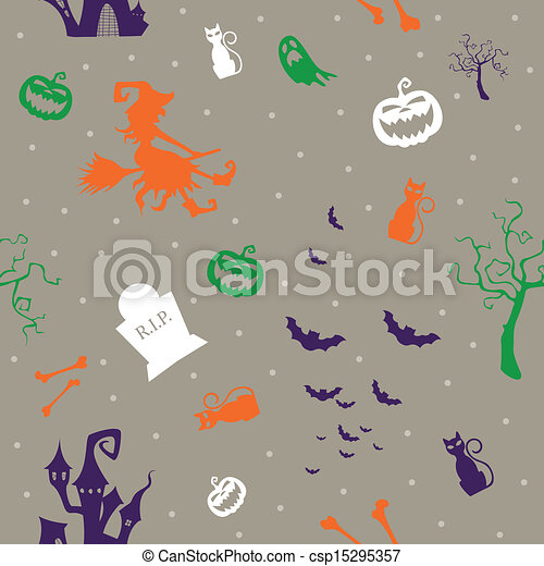 Vector Pattern with Halloween Icons - csp15295357