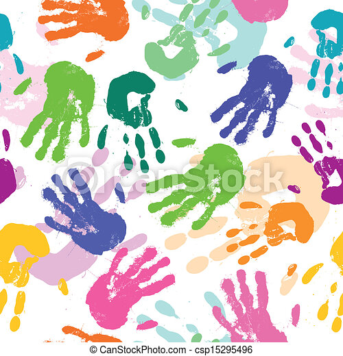 Vector Pattern with Hand Prints - csp15295496