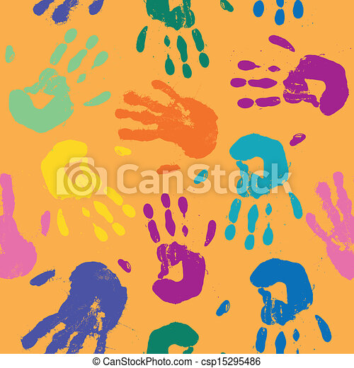 Vector Pattern with Hand Prints - csp15295486