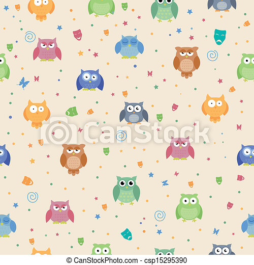 Vector Pattern with Owls - csp15295390