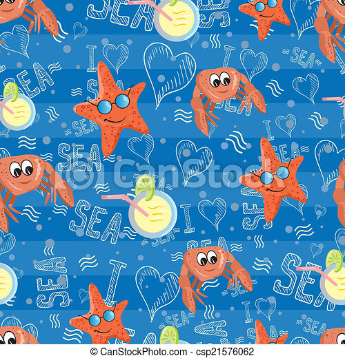 Vector pattern with sea life - csp21576062