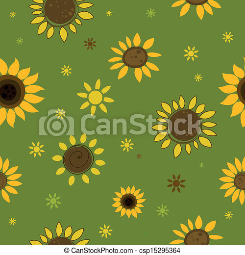 Vector Pattern with Sunflowers - csp15295364