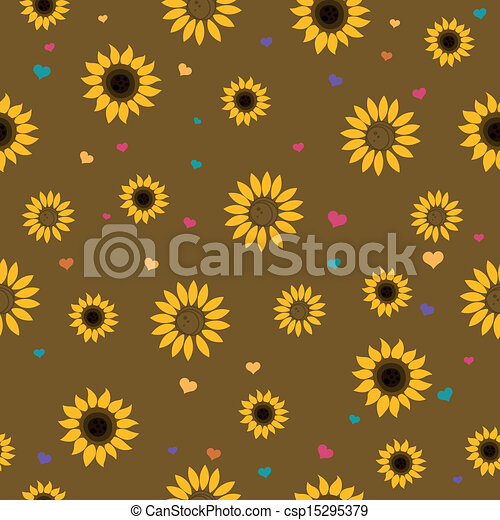 Vector Pattern with Sunflowers - csp15295379