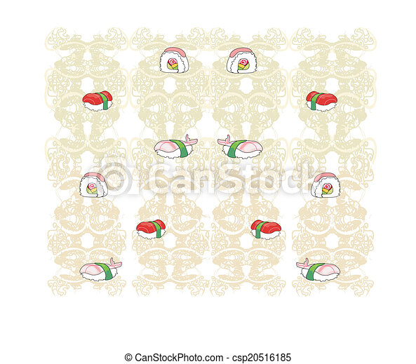 vector pattern with sushi - csp20516185