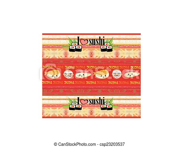 vector pattern with sushi - csp23203537
