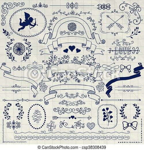 Vector Pen Drawing Rustic Floral Design Elements - csp38308439