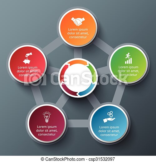 Vector penagon with circles for infographic. - csp31532097
