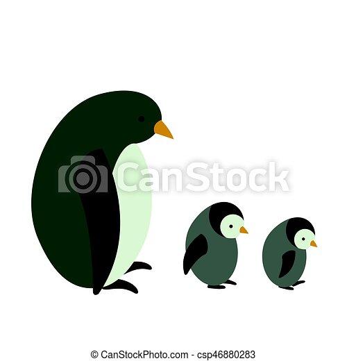 Vector Penguin with Children - csp46880283