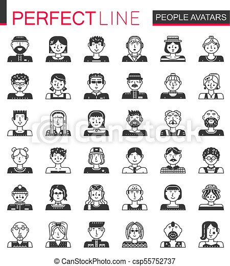 Vector People avatars classic black concept icons. Men and woman heads set. - csp55752737
