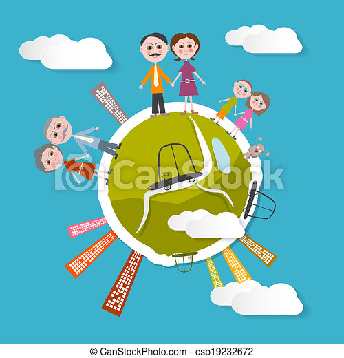 Vector People on Green Globe Illustration with Blue Sky Background - csp19232672