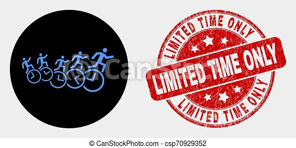 Vector People Run Over Clocks Icon and Distress Limited Time Only Seal - csp70929352