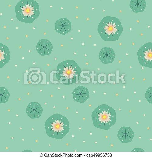 Vector peyote lophophora cactus seamless pattern - csp49956753