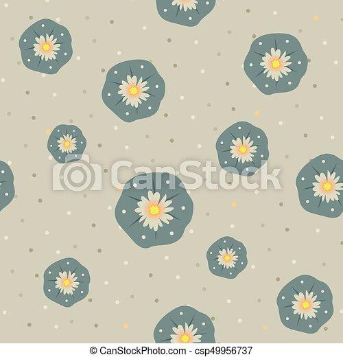 Vector peyote lophophora cactus seamless pattern - csp49956737