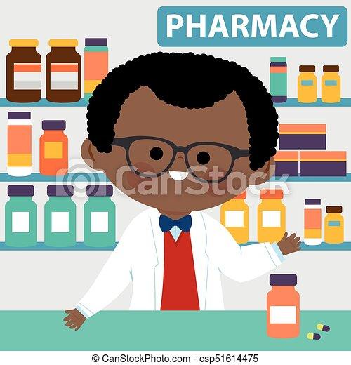 Farmacéutico en el mostrador de una farmacia. Ilustración de vectores - csp51614475