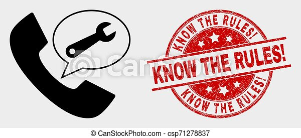 Vector Phone Service Message Icon and Grunge Know the Rules! Stamp - csp71278837