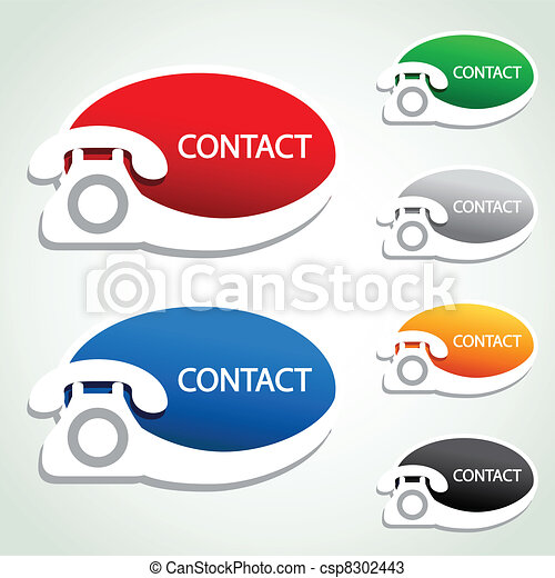 Vector phone stickers - contact icons - csp8302443