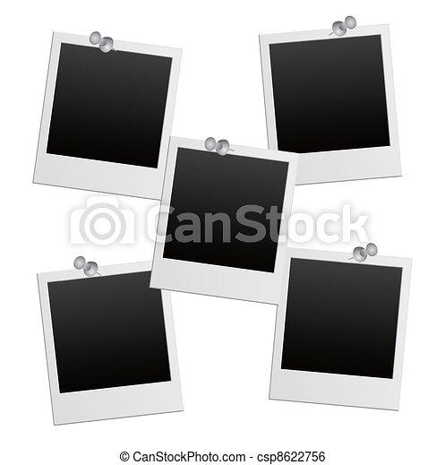 vector photo frames with pushpin - csp8622756