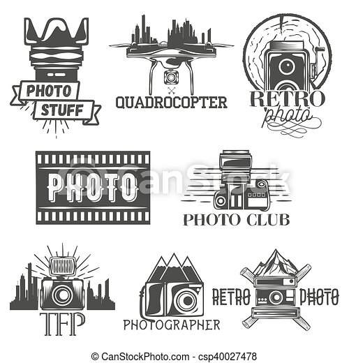 Vector Photography Theme Set In Vintage Style Monochrome Logo Banner Badges Or Emblems For Photo