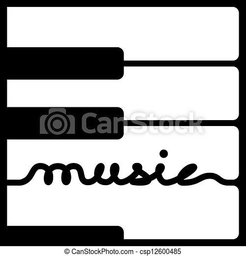 vector piano keys music calligraphy - csp12600485