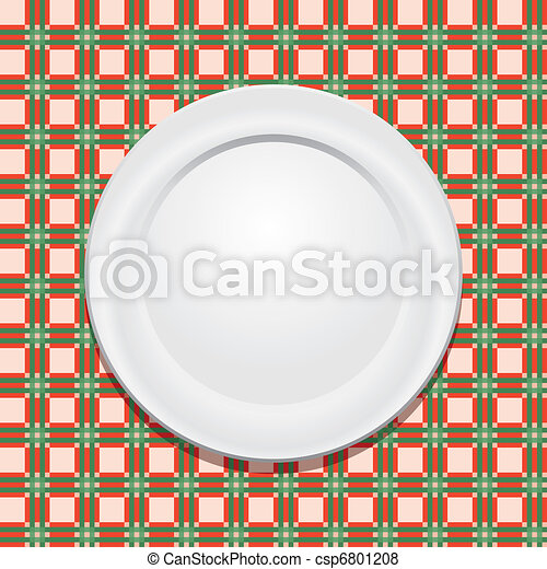 vector picnic tablecloth and empty plate - csp6801208
