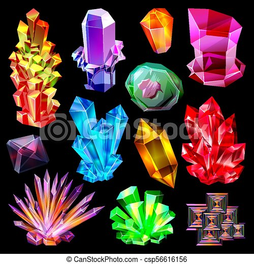 ab0dac0675f2 vector, piedra, conjunto, natural, mineral, joyería, cristalización, joya,  aislado, ilustración, cristal, cuarzo, negro, pedregoso, plano de fondo, ...