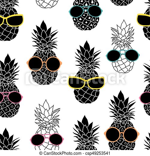 Vector Pineapples Wearing Colorful Sunglasses Summer Vacation Tropical Seamless Pattern Great For