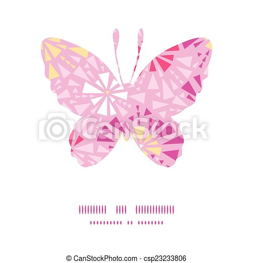 Vector pink abstract triangles butterfly silhouette pattern frame - csp23233806