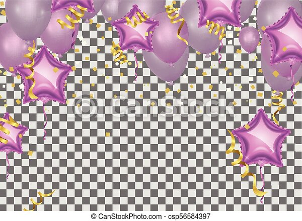 Vector Pink Balloons On White Background Balloon Bubbles Beautiful Birthday Texture