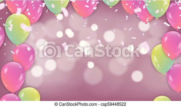 Vector Pink Balloons On White Lighting Glitters Birthday Background With