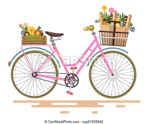 Vector Pink Bicycle - Bike with Flowers and Vegetables on Basket Isolated on White Background. - csp51032642