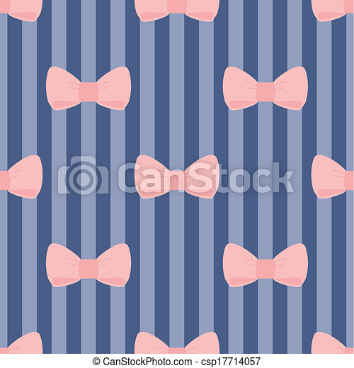 Vector Pink Bows Blue Background Seamless Vector Pattern With