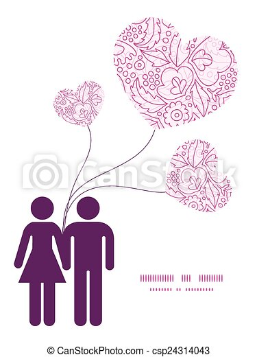 Vector pink flowers lineart couple in love silhouettes frame pattern ...