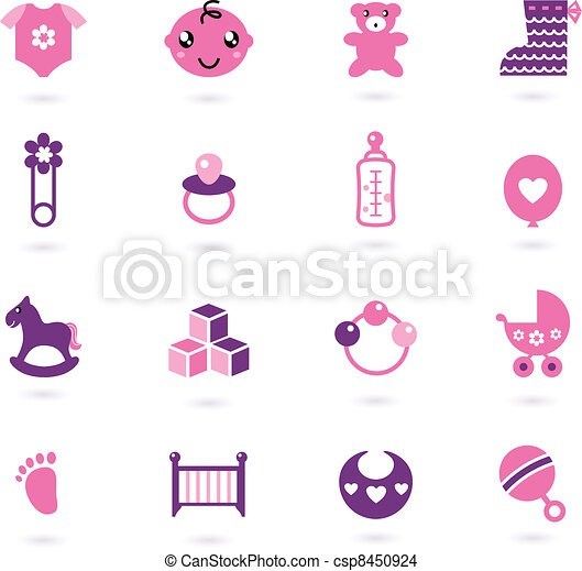Vector pink Icons collection for baby girl isolated on white - csp8450924