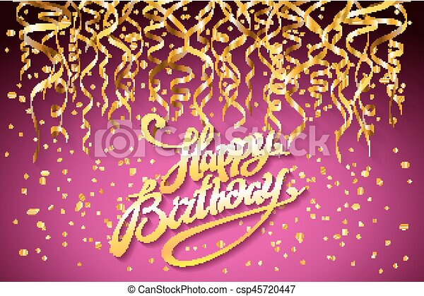 Vector Pink Party Background Happy Birthday Celebration Design Vector Gold Confetti Elements Greeting Card Template Purple Canstock