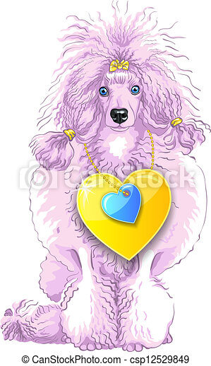 vector pink Poodle dog with gold heart - csp12529849