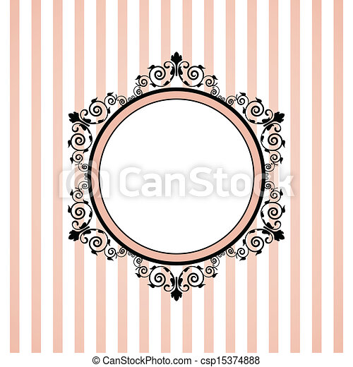 Vector pink striped frame - csp15374888