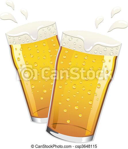 Vector pints of beer toasting - csp3648115