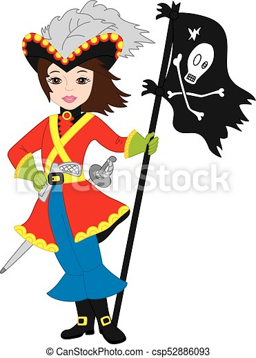 vector pirate girl with jolly roger flag vector beautiful eps rh canstockphoto com pirate flag clipart free Pirate Clip Art
