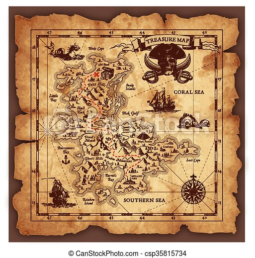 vector pirate treasure map vector super detailed pirate treasure rh canstockphoto com pirate treasure map vector old treasure map vector