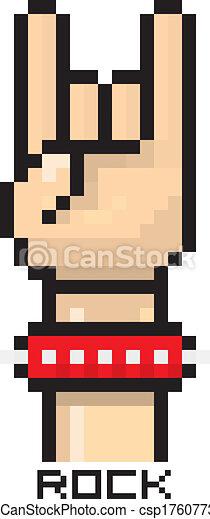Vector Pixel Art Hand Sign Rock N Roll Button Vector Pixel Art Hand Sign Rock N Roll Music Button Canstock