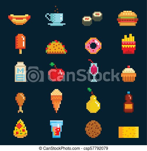 Pixel Art Style Food And Drink Set Illustrations And Clip