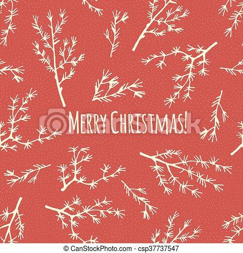 vector., plakat, jul, retro, merry, eller, card - csp37737547