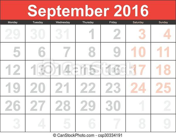 vector planning calendar september 2016