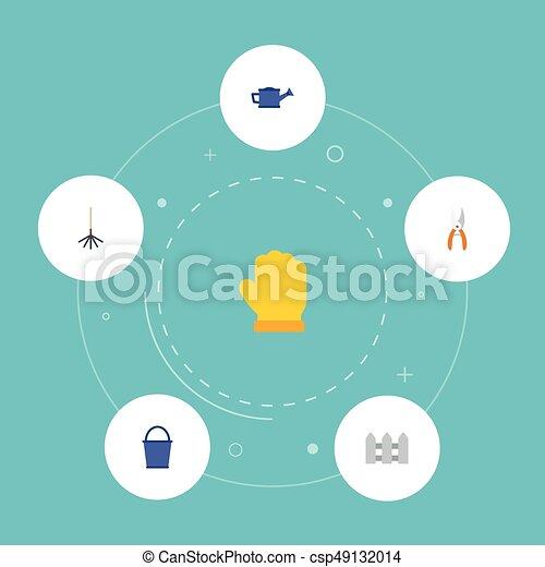 Icones planos cerca, podador, rastrillo y otros elementos vectoriales. Un conjunto de iconos planos de jardinería también incluye latas, cubos, objetos de guantes. - csp49132014