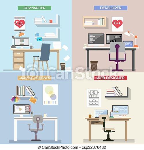 El concepto de diseño de vectores para lugares de trabajo. Un juego de escritorios. Interiores de oficina e íconos en estilo plano. - csp32076482