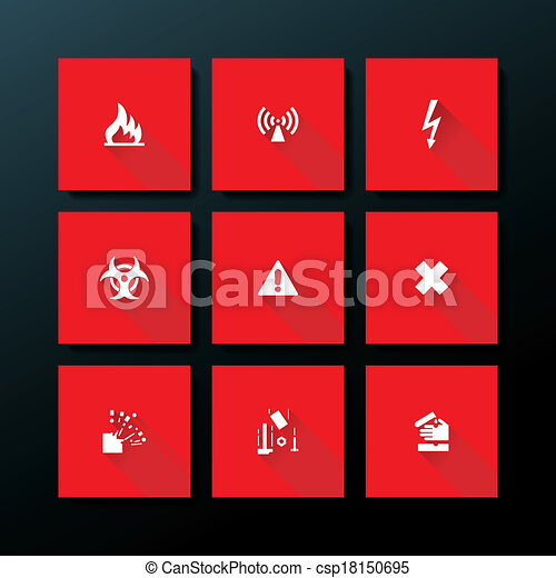 Icono de advertencia plana Vector - csp18150695