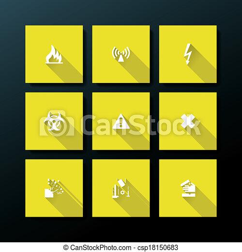 Icono de advertencia plana Vector - csp18150683