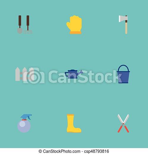 Una cerca plana de iconos, botas de goma, herramientas y otros elementos vectoriales. Un conjunto de iconos planos de agricultura también incluye botas, agua, objetos látex. - csp48793816